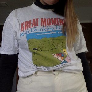"""Vintage """"Great Moments"""" White Tee"""